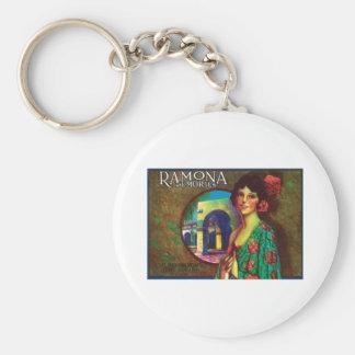 Ramona Memories Vintage Label Basic Round Button Key Ring