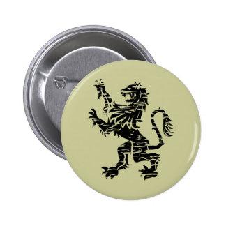Rampant Black Heraldic Lion - Button
