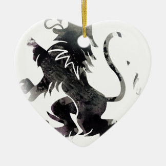 Rampant Lion Scotland Ceramic Heart Decoration
