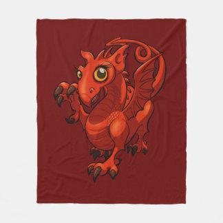Rampant Little Welsh Baby Red Dragon Cartoon Fleece Blanket