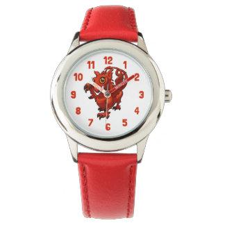 Rampant Little Welsh Baby Red Dragon Cartoon Watch