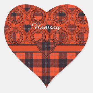 Ramsay Clan Plaid Scottish tartan Heart Sticker