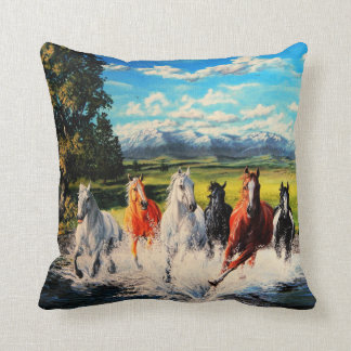 Ranch horses run through river landscape painting cushion