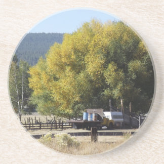 Ranch in Fall Beverage Coasters