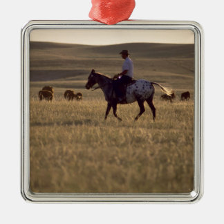 Rancher Buck Holmes riding a horse looking Christmas Ornament