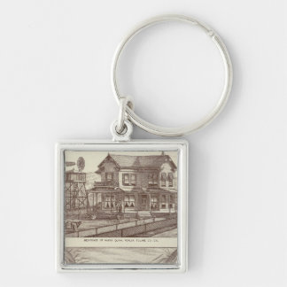 Ranches, Poplar, Cal Silver-Colored Square Key Ring