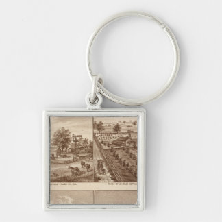 Ranches, stables, Tulare Co, Cal Silver-Colored Square Key Ring