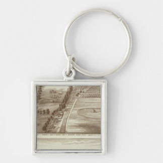 Ranches, Tulare Co, Cal Silver-Colored Square Key Ring