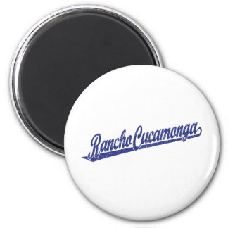 Rancho Cucamonga script logo in blue distressed 6 Cm Round Magnet
