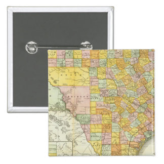 Rand McNally Railroad And County Map Of Texas 15 Cm Square Badge