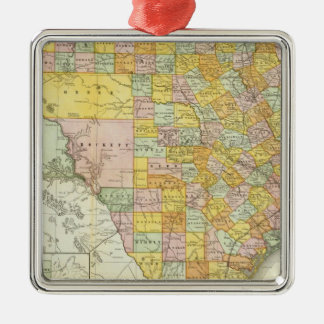 Rand McNally Railroad And County Map Of Texas Silver-Colored Square Decoration