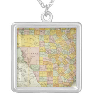 Rand McNally Railroad And County Map Of Texas Silver Plated Necklace