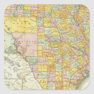 Rand McNally Railroad And County Map Of Texas Square Sticker