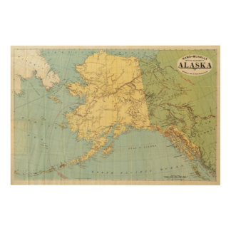 Rand McNally's Map Of Alaska Wood Wall Decor