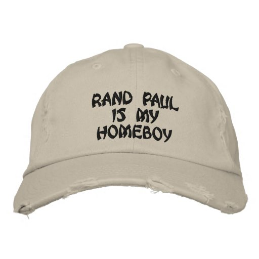 RAND PAUL IS MY HOMEBOY distressed chino twill cap Embroidered Hat
