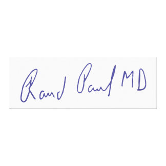 Rand Paul MD Signature Autograph Gallery Wrap Canvas