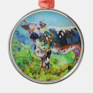 Randall Lineback cow painting Silver-Colored Round Decoration