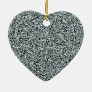Random Abstract Triangles in Blue Ceramic Heart Decoration