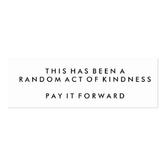 Random Acts of Kindness Challenge Cards Pack Of Skinny Business Cards
