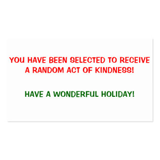 Random Acts of Kindness Holiday Cards Pack Of Standard Business Cards