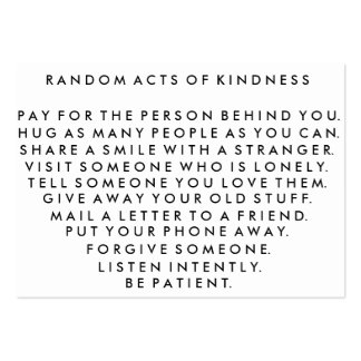 Random Acts of Kindness Pay It Forward Card I Pack Of Chubby Business Cards