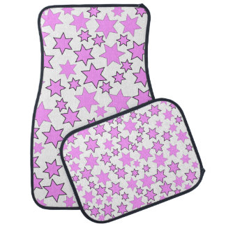 Random Bright Pink Stars Car Mat