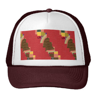Random Color PATCH ABSTRACT Art on SILKY RED BASE Mesh Hat
