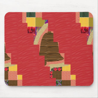 Random Color PATCH ABSTRACT Art on SILKY RED BASE Mouse Pad