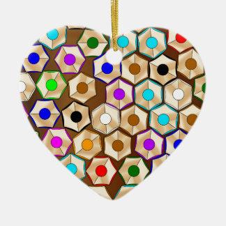 Random Coloured Pencils Ceramic Heart Decoration