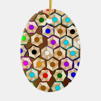 Random Coloured Pencils Ceramic Oval Decoration