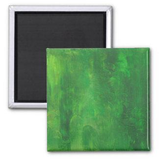 Random Forms Green Abstract Painting Square Magnet
