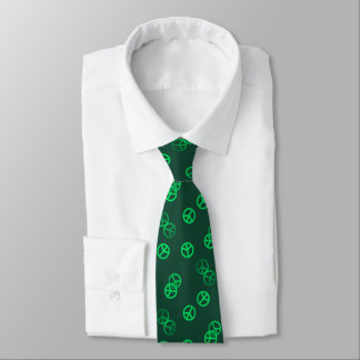 Random Green Peace Sign Pattern Tie