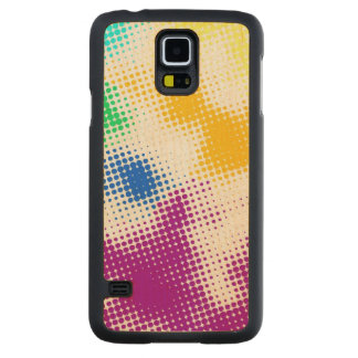 Random halftone colorful background carved maple galaxy s5 case
