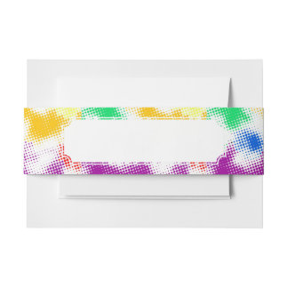 Random halftone colorful background invitation belly band