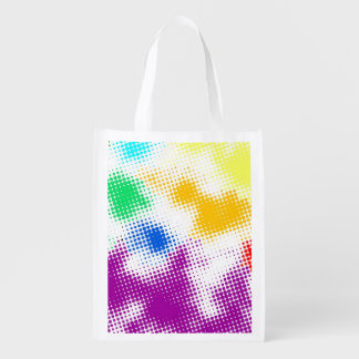 Random halftone colorful background reusable grocery bag