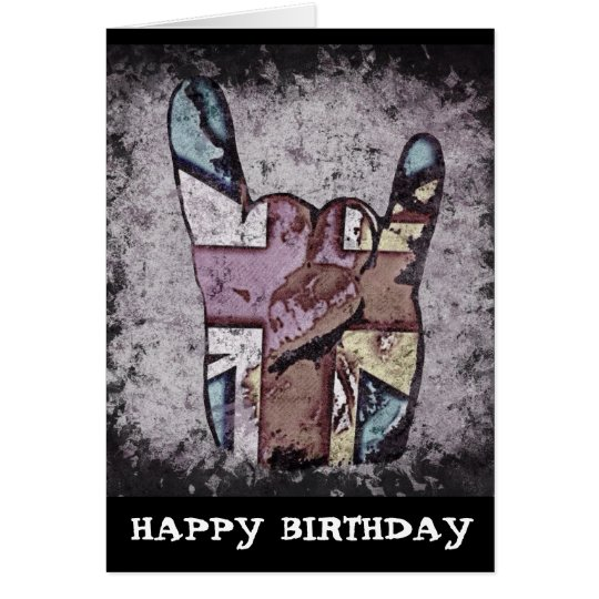 Random Horns Grunge Hard Rock Birthday Card