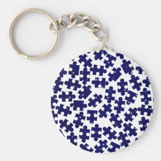 Random Jigsaw Pieces Basic Round Button Key Ring