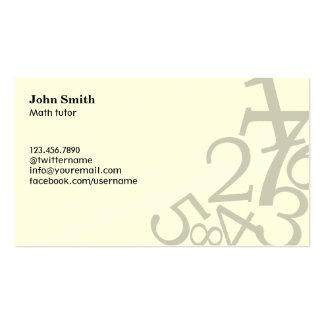 Random Numbers Math Tutor Business Cards