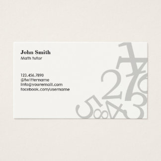 Random Numbers Math Tutor Business Cards