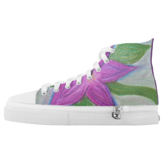 random purple flower high tops