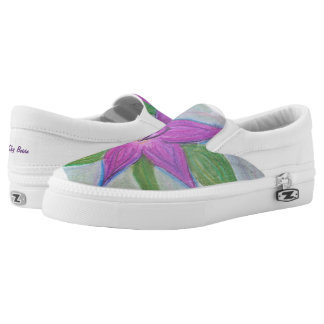 random purple flower shoe