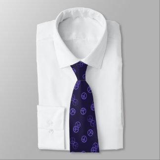 Random Purple Peace Sign Pattern Tie
