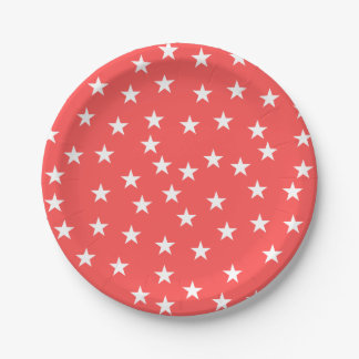 Random Red and White Star Pattern Paper Plate 7 Inch Paper Plate