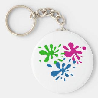 Random Splats Basic Round Button Key Ring