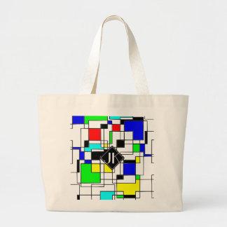 Random Squares Homage To Mondrian Large Tote Bag
