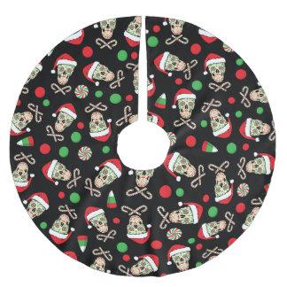 Random Sugar Skull Santa Brushed Polyester Tree Skirt