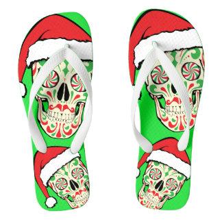 Random Sugar Skull Santa Face Flip Flops