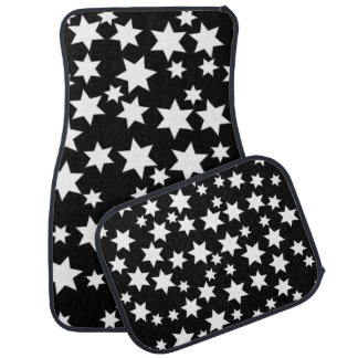 Random White Stars on Black Floor Mat