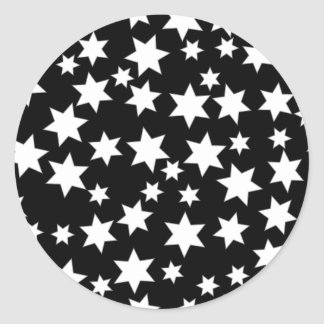 Random White Stars on Black Sticker