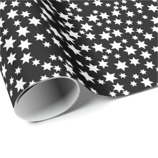 Random White Stars on Black Wrapping Paper